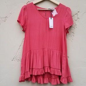 NWT Ro & De Ruffle Blouse Top V Neck Size XS Pink